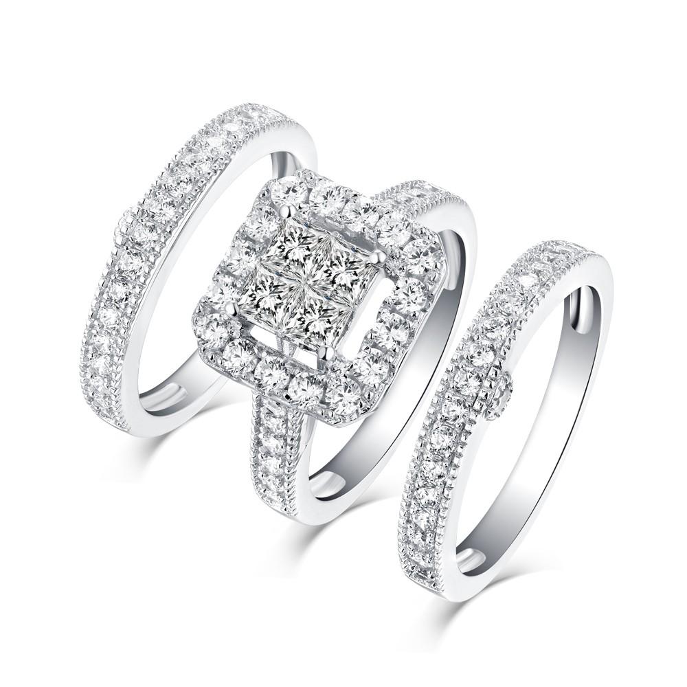 Women S Princess Cut White Sapphire 925 Sterling Silver