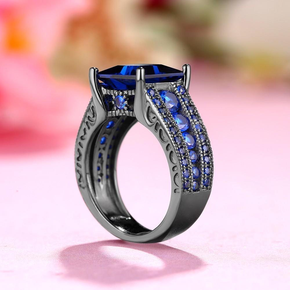 Blue Sapphire Princess Cut Black 925 Sterling Silver Engagement ...