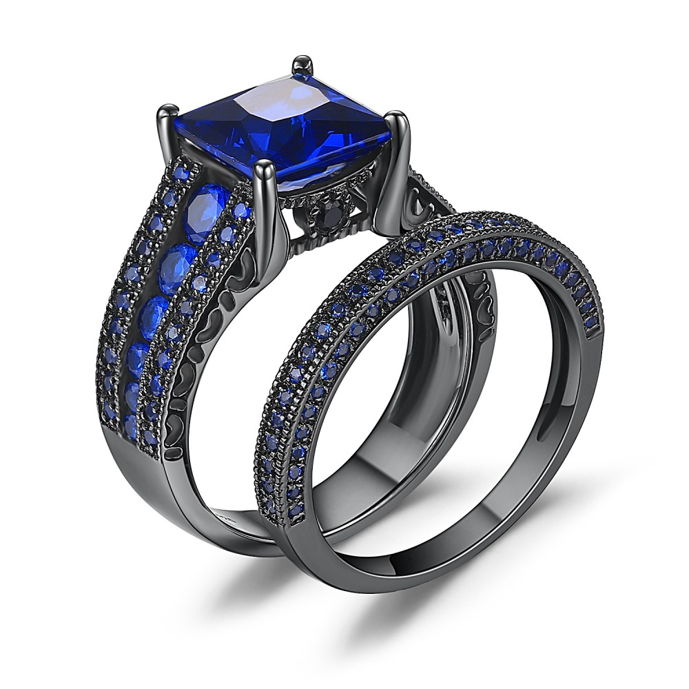sapphire princess cut black 925 sterling silver engagement