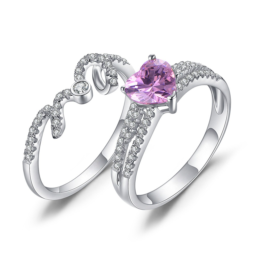 Heart Cut Amethyst 925 Sterling Silver Promise Rings For