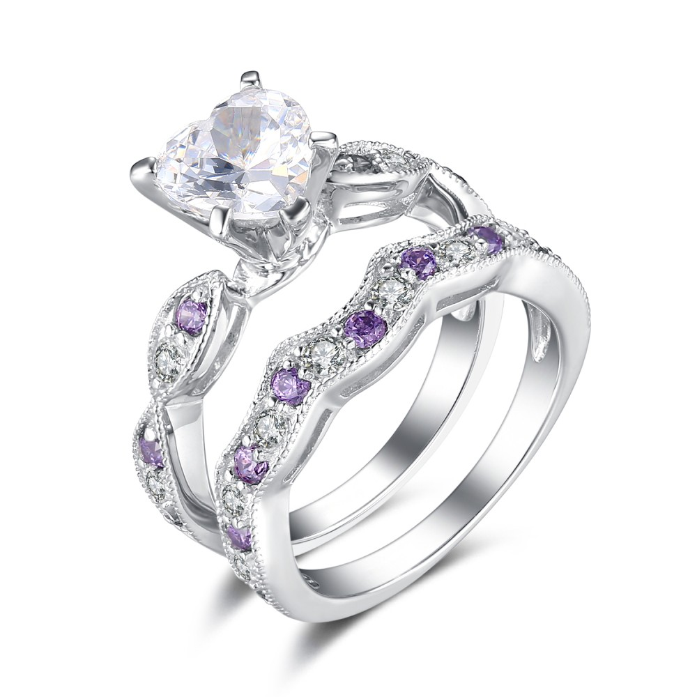 amethyst wedding rings cut white and amethyst sapphire sterling silver 1295