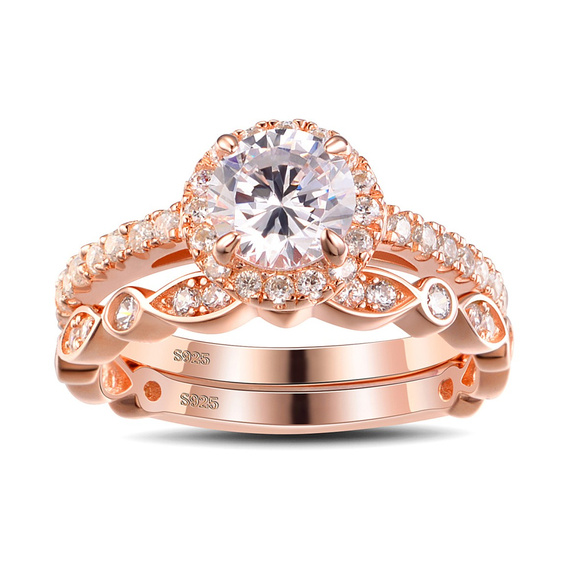 rose gold wedding rings for women gold cut white sapphire sterling silver women s 7125