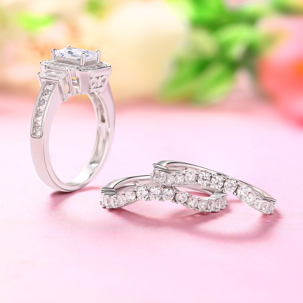 Emerald Cut White Sapphire 925 Sterling Silver 3-Piece Ring Sets ...