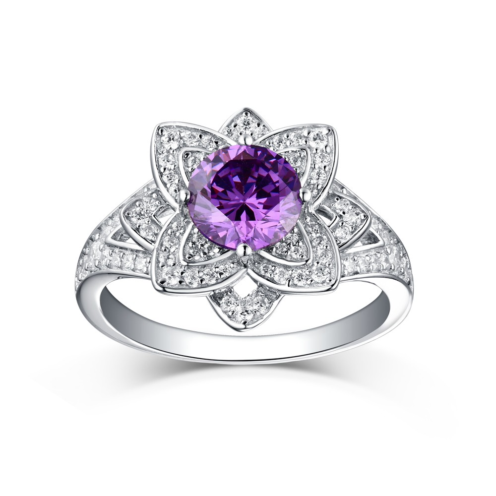 Round Cut 925 Sterling Silver Amethyst Art Deco Engagement