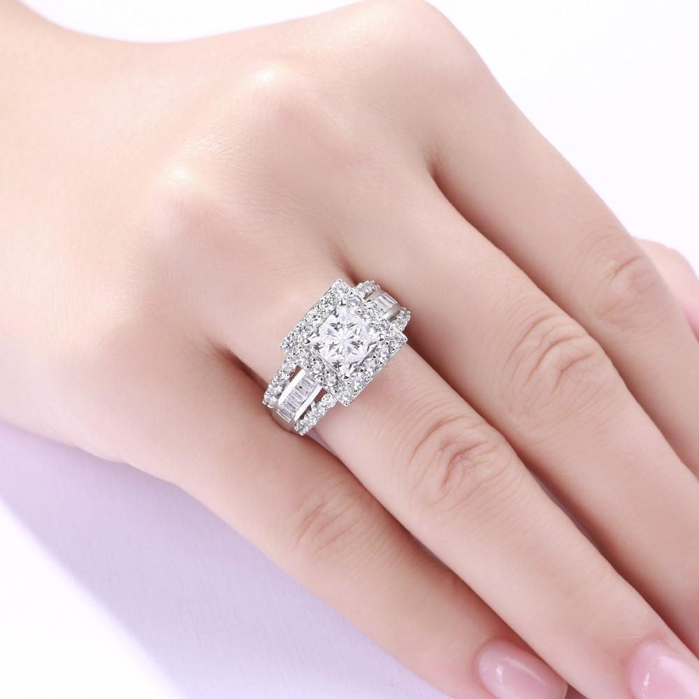 Gorgeous Princess Cut 925 Sterling Silver White Sapphire Women\'s ...