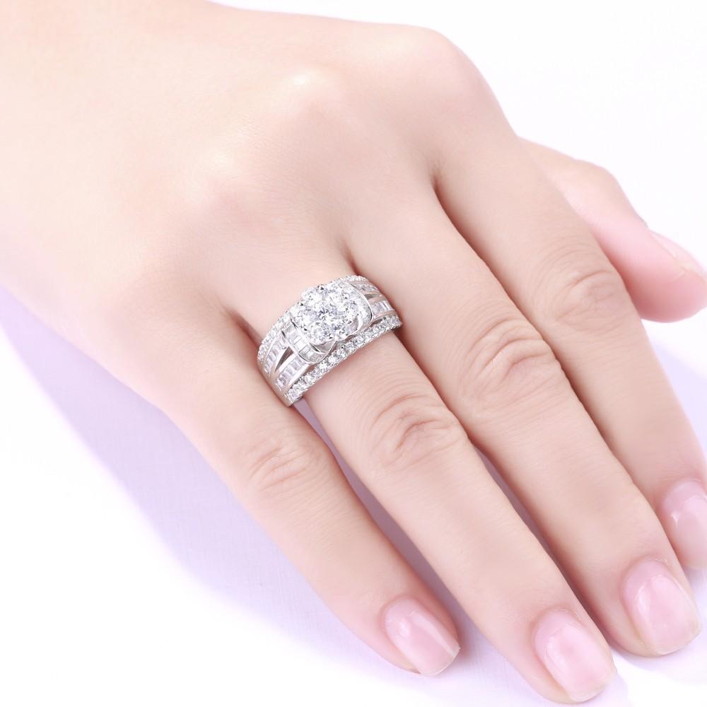 Round Cut Flower White Sapphire 925 Sterling Silver Women\'s ...