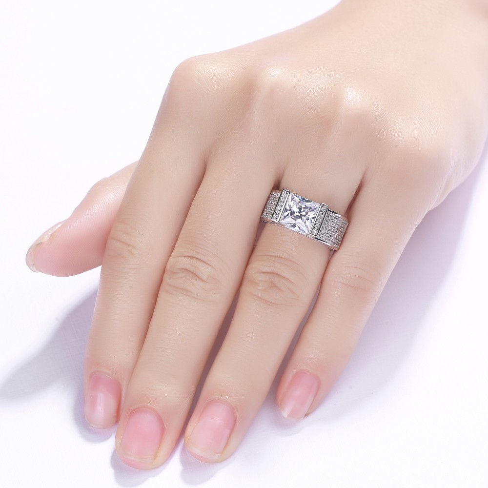 Princess Cut White Sapphire 925 Sterling Silver Engagement Ring ...