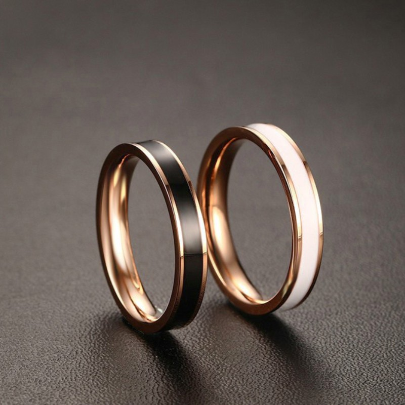black white rose gold titanium steel promise rings for. Black Bedroom Furniture Sets. Home Design Ideas