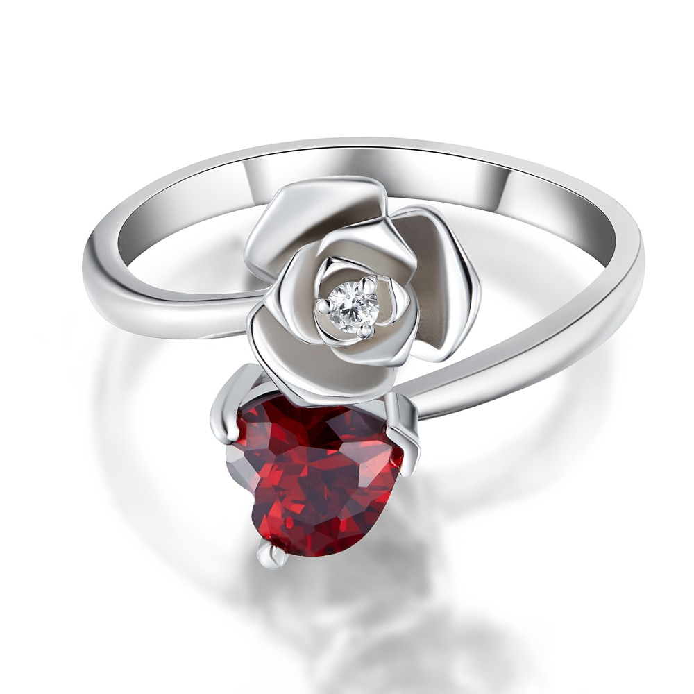 Sterling Heart Birthstone Ring