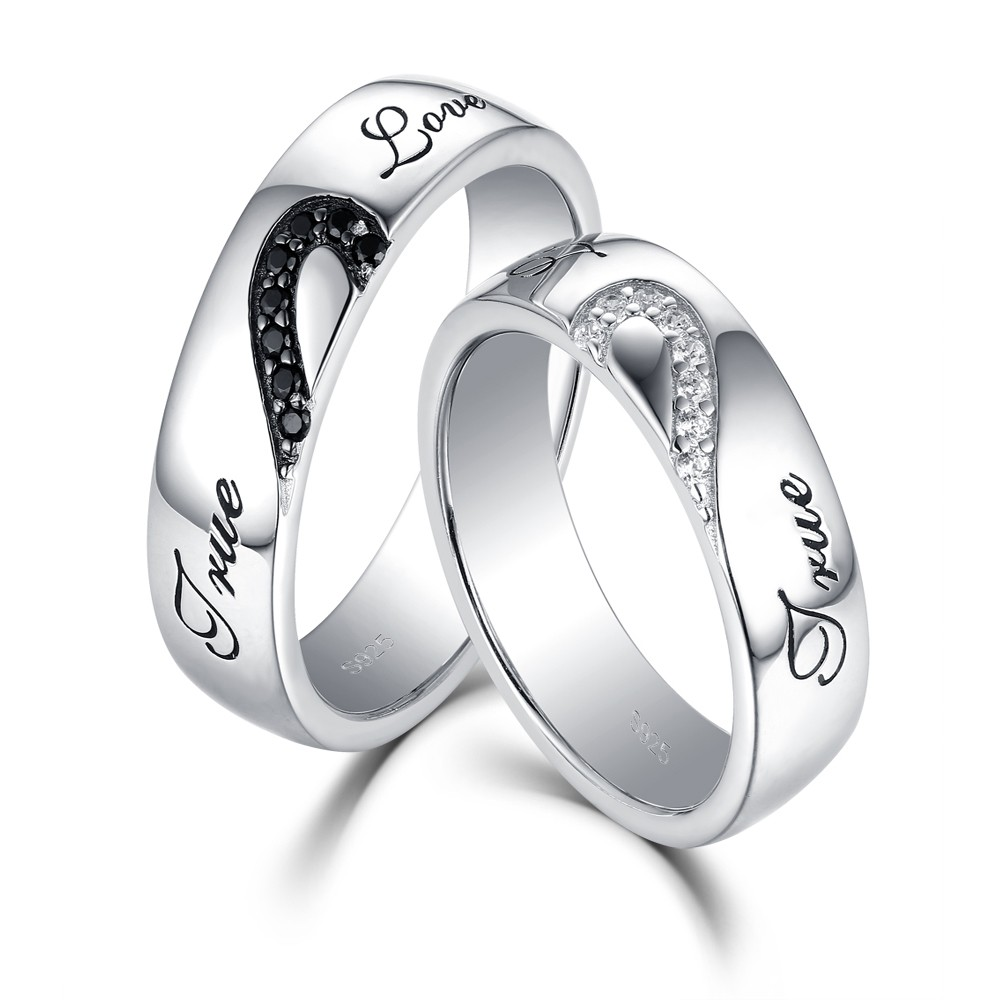 endless true and white couple sapphire silver rings love black