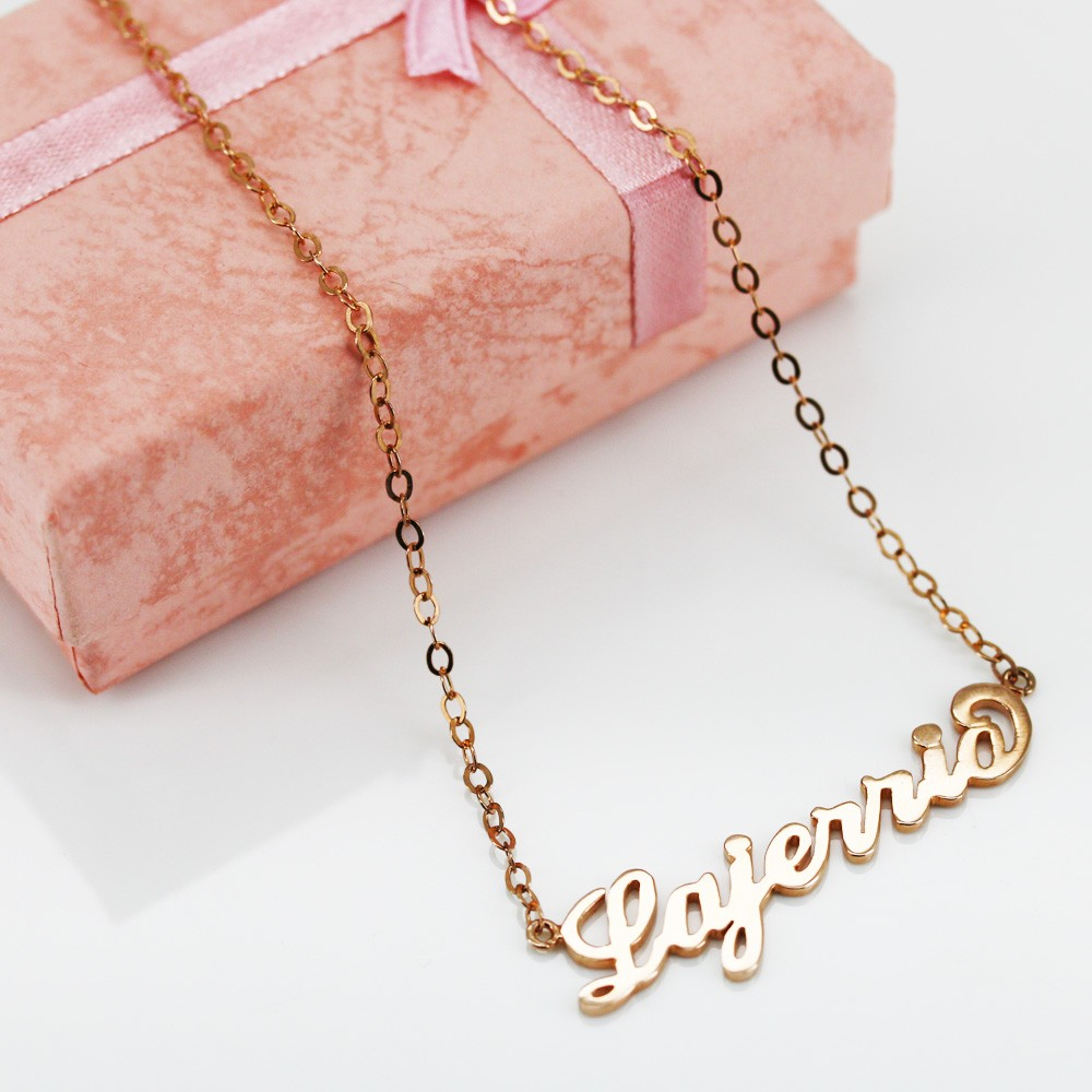 rose gold s925 silver personalized name necklace. Black Bedroom Furniture Sets. Home Design Ideas