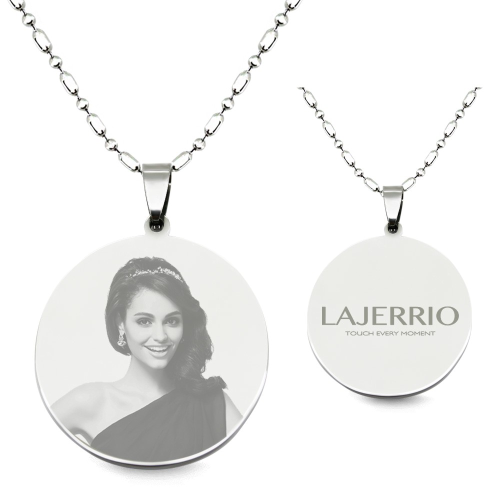 Titanium steel round shape personalized photo engraved pendant titanium steel round shape personalized photo engraved pendant necklace lajerrio jewelry aloadofball Choice Image
