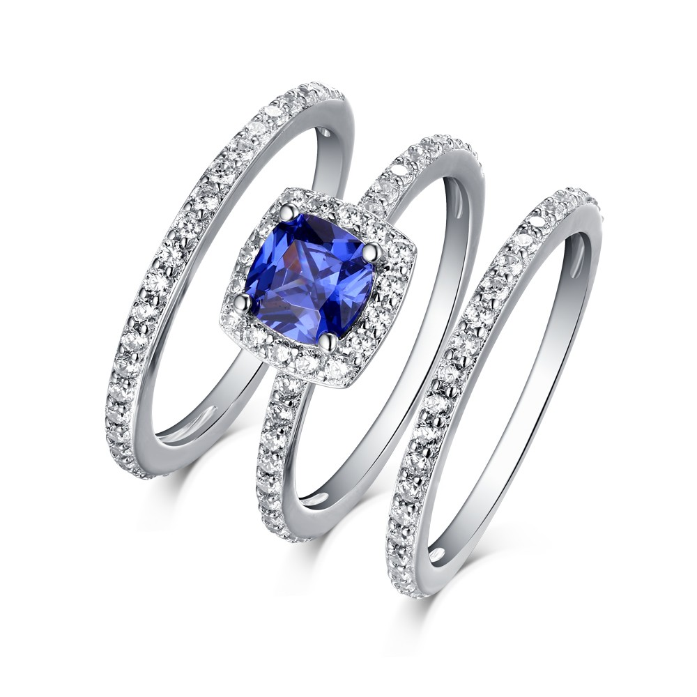 halo enr ring unheated cushion engagement blue white cut pave rings sapphire