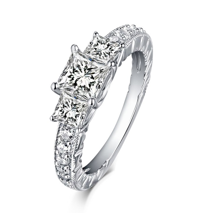 cushion ring p rings diamond cut white gold multi halo stone