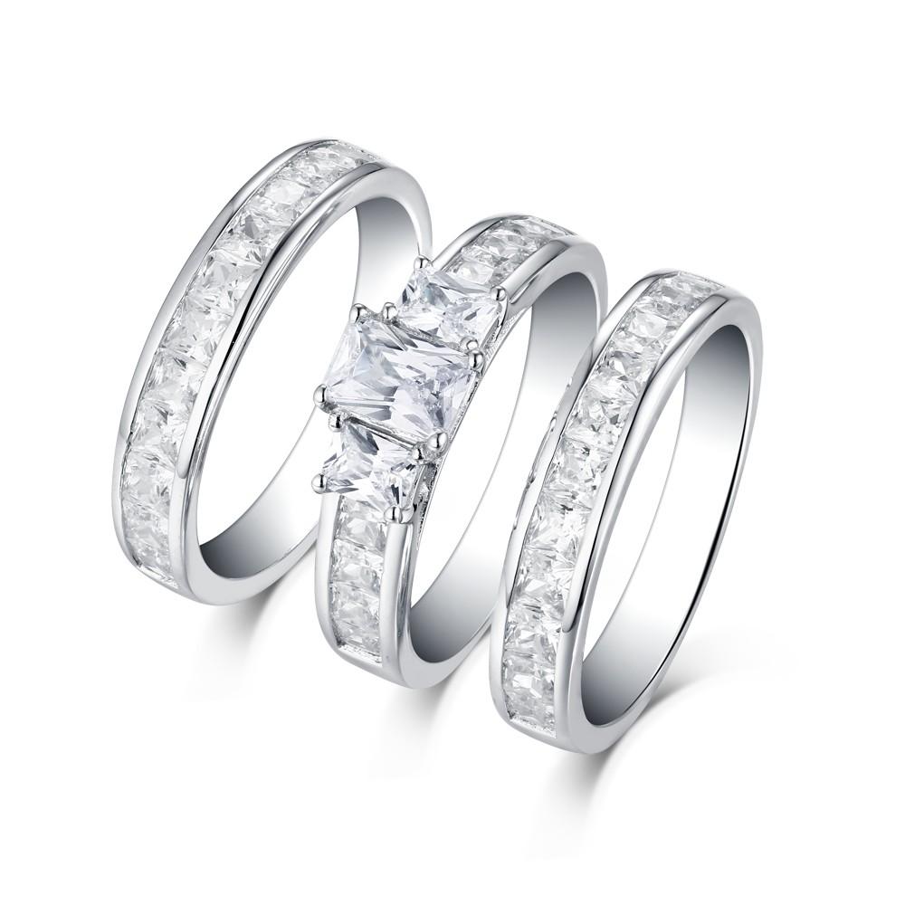 Emerald Cut S925 White Sapphire 3Stone 3 Piece Ring Sets Lajerrio