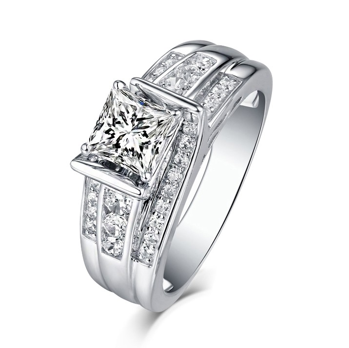 classic engagement princess a stone ring rings three