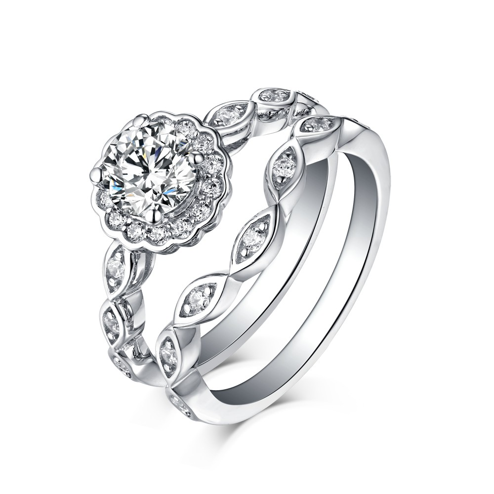 Round Cut 925 Sterling Silver White Sapphire Hola Ring Sets