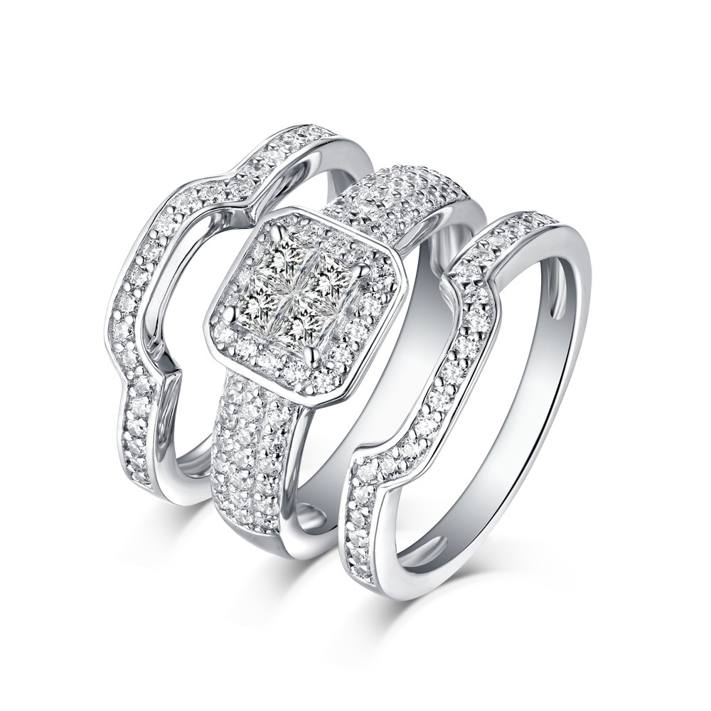 Princess Cut Hola 925 Sterling Silver White Sapphire 3 Piece Ring Sets