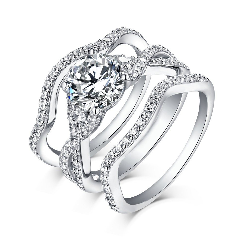 White Sapphire Round Cut 925 Sterling Silver 3 Piece Ring Sets