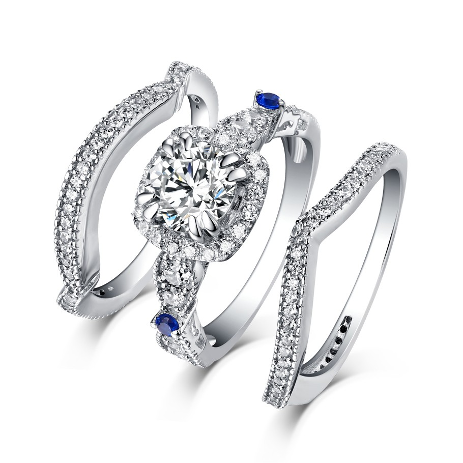 Round Cut S925 Silver White Sapphire 3 Piece Halo Ring Sets   Lajerrio  Jewelry