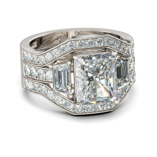 Luxury Emerald Cut White Sapphire 925 Sterling Silver Women's Engagement Ring