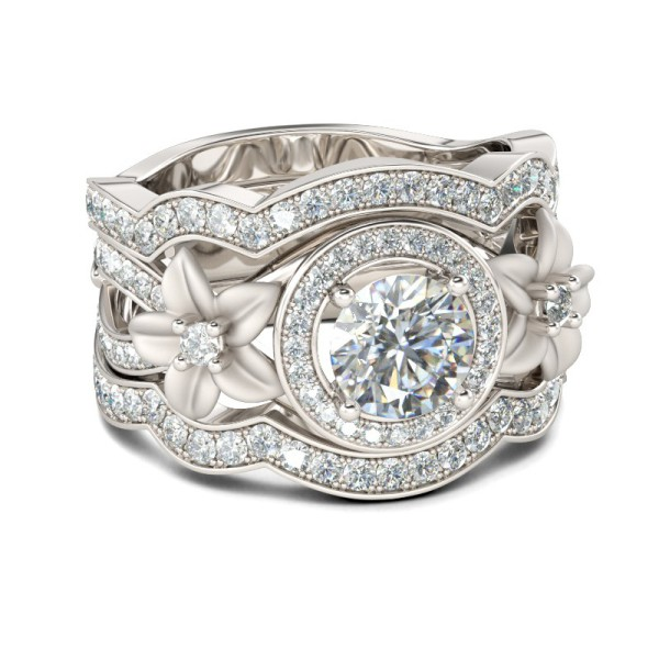 Round Cut Flowers White Sapphire Sterling Silver Women's Engagement Ring