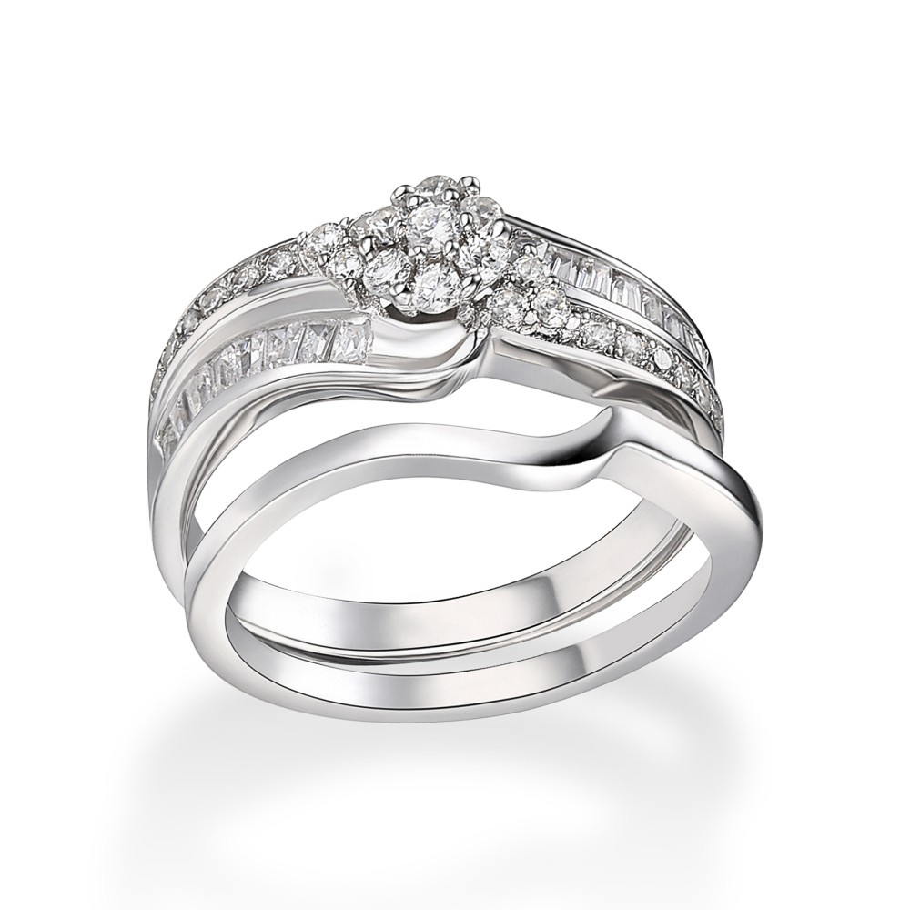 Flower Round Cut White Sapphire 925 Sterling Silver Engagement Ring
