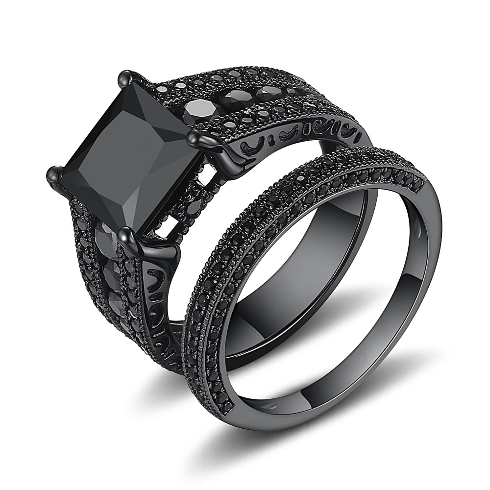 Merveilleux Black Princess Cut Black 925 Sterling Silver Engagement Ring   Lajerrio  Jewelry