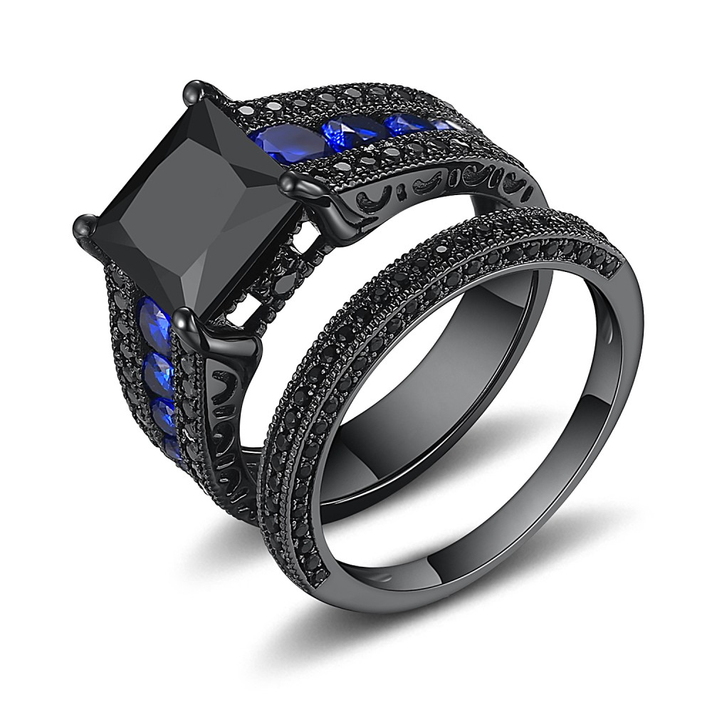 Black Princess Cut Black 925 Sterling Silver Engagement ...