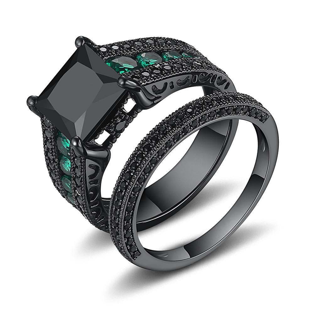 Black 925 Sterling Silver Black Princess Cut Engagement Ring