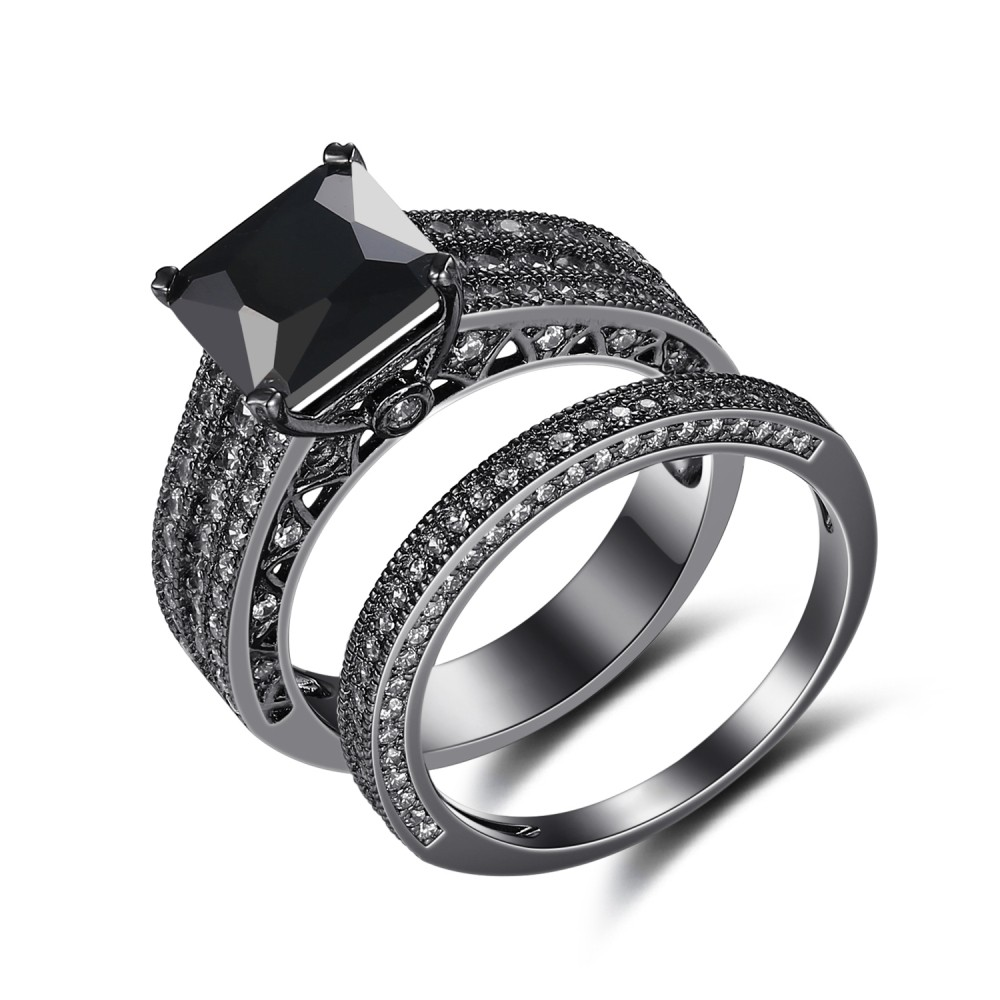 black 925 sterling silver princess cut black engagement