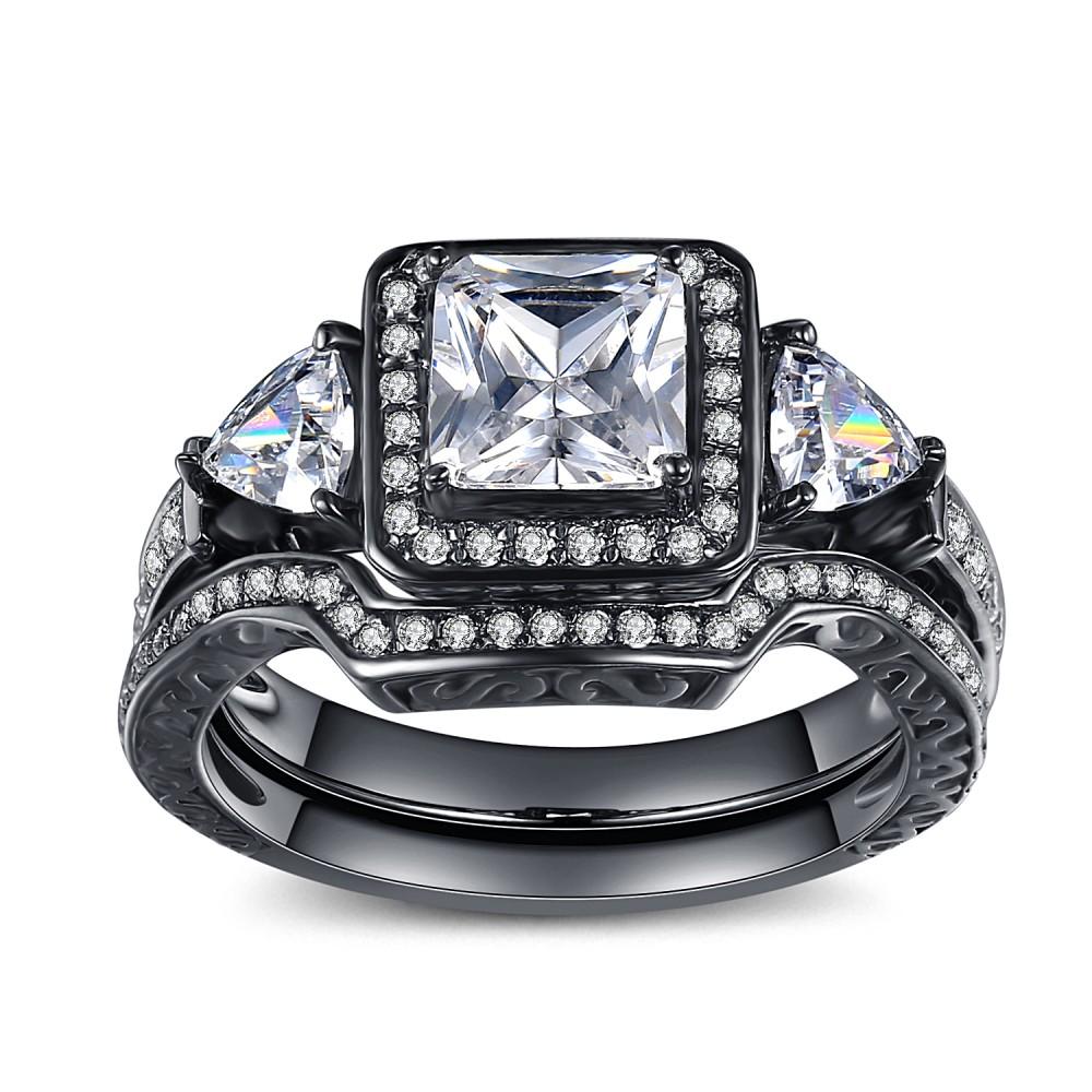 Princess Cut Gemstone Black 925 Sterling Silver Engagement Ring