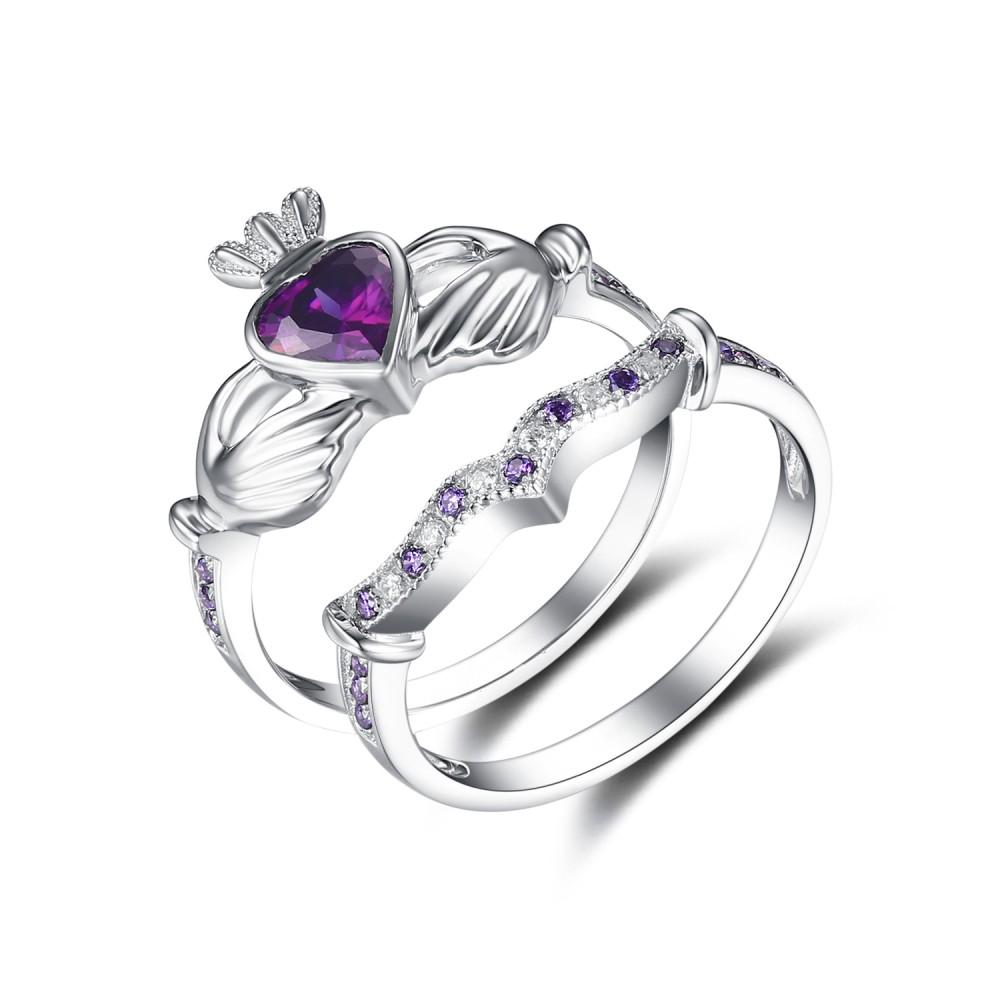Heart Cut Amethyst 925 Sterling Silver Birthstone Ring