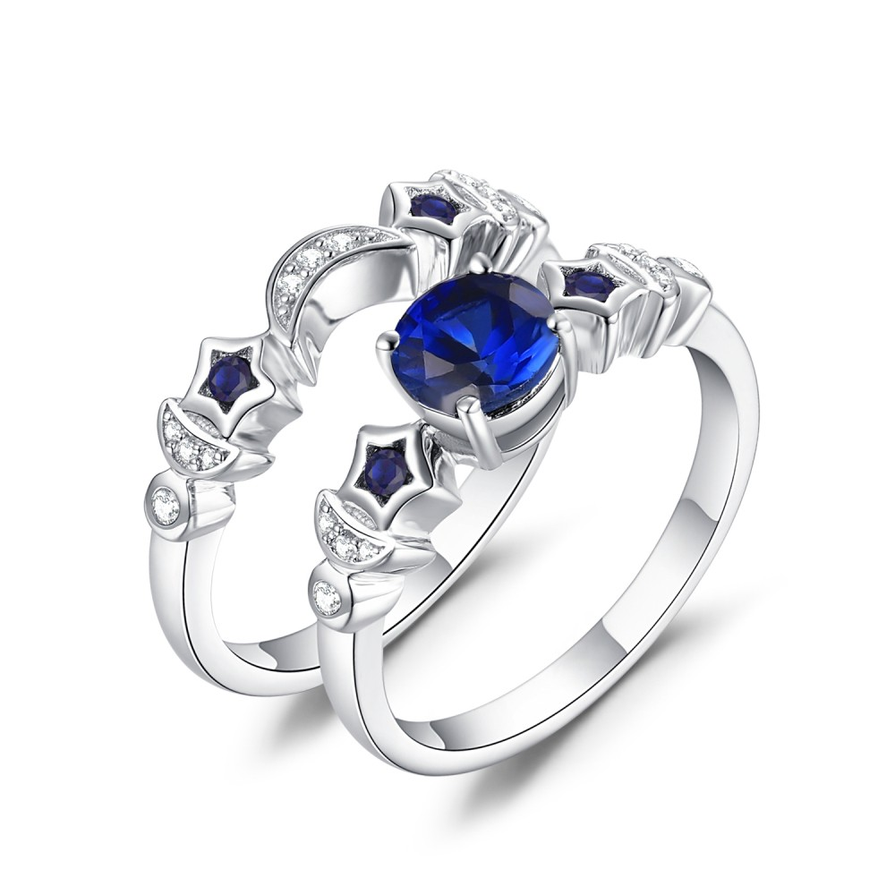Moon And Star Blue Sapphire 925 Sterling Silver Women S
