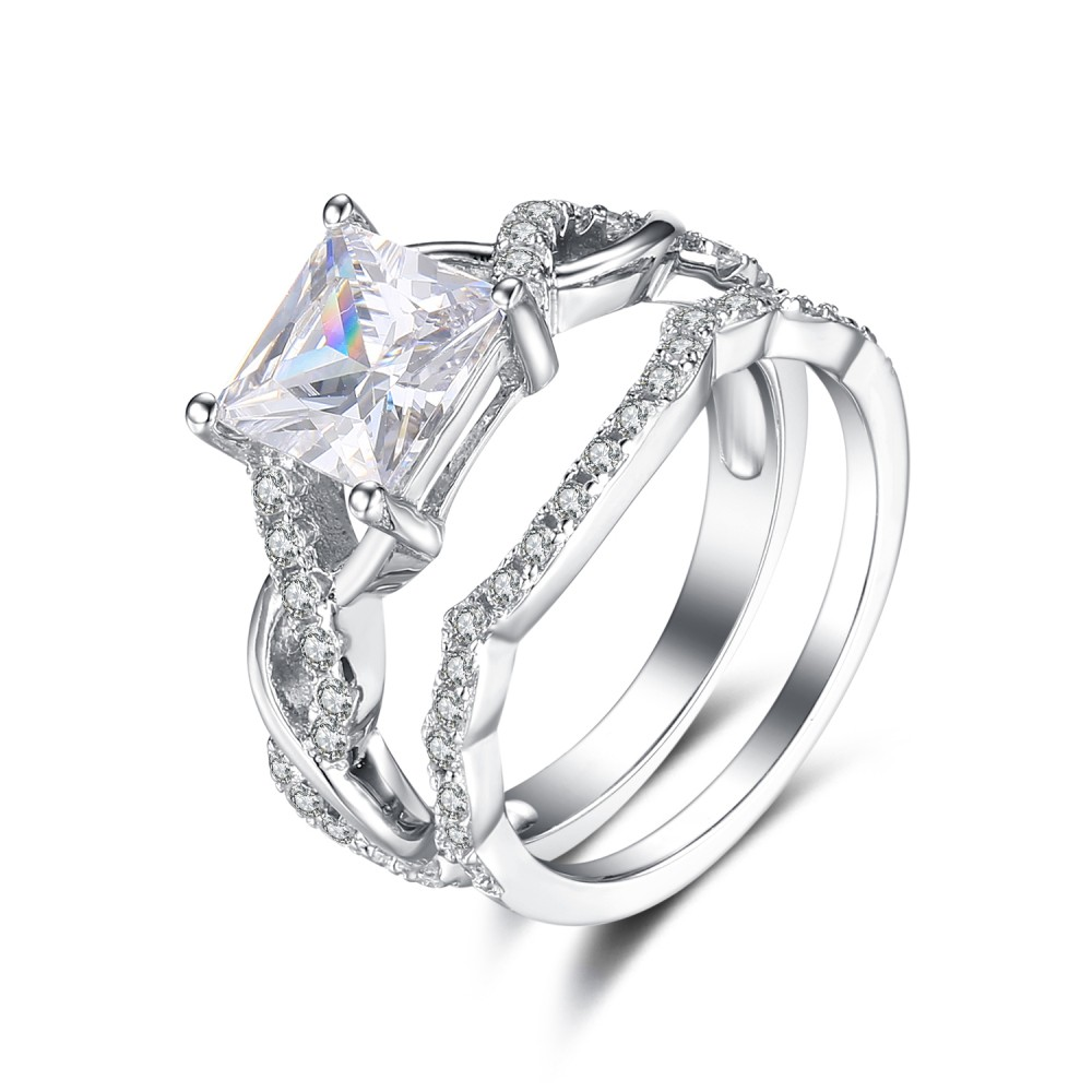 Princess Cut White Sapphire 925 Sterling Silver Women's Ring