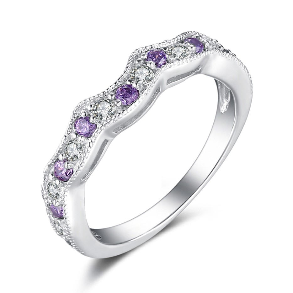 Round Cut White Shire And Amethyst Sterling Silver Wedding Bands Lajerrio Jewelry