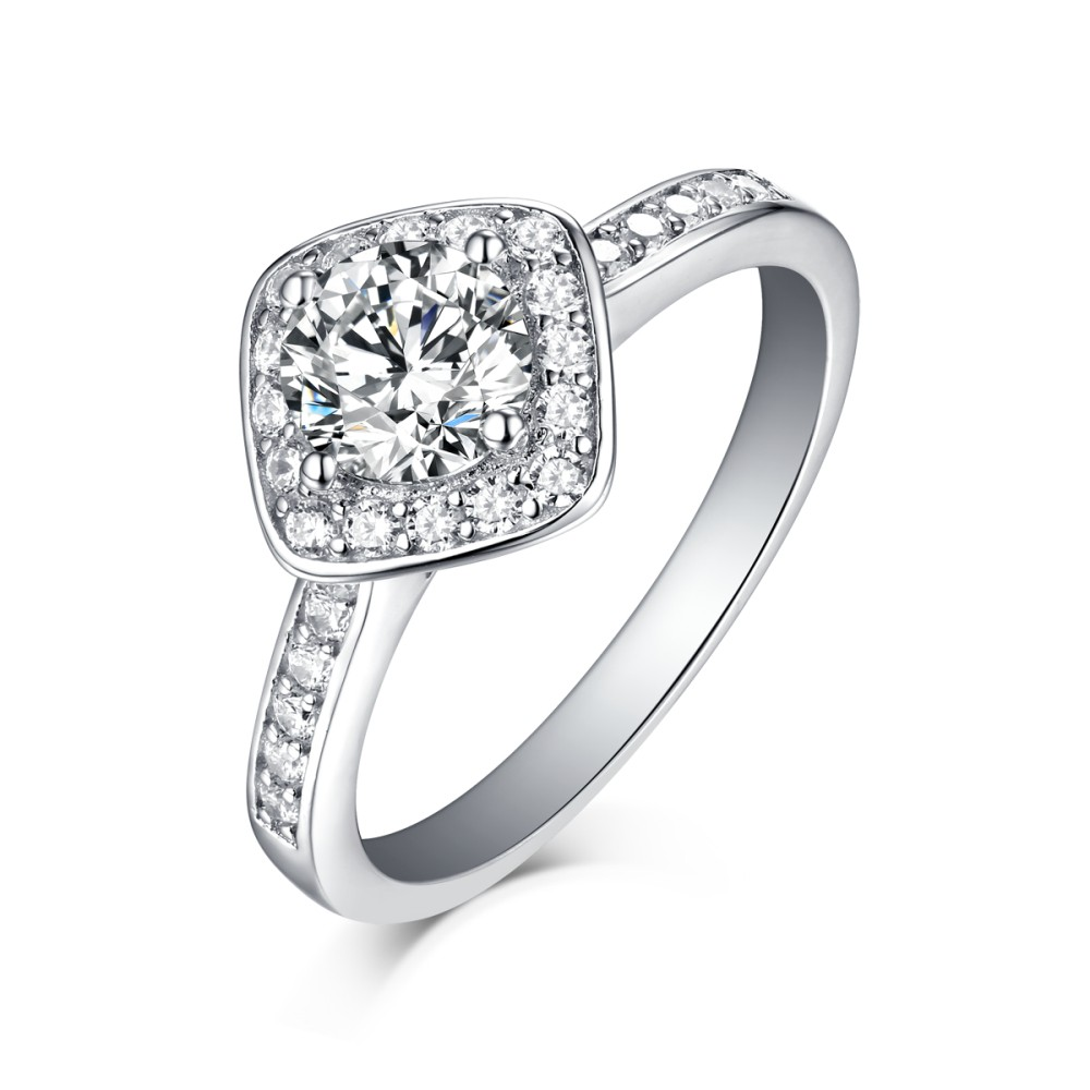 Round Cut 925 Sterling Silver Halo White Sapphire Engagement Rings