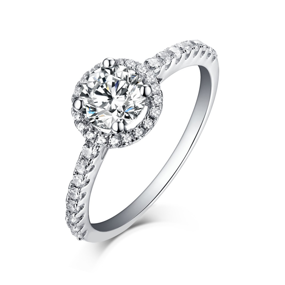 White Sapphire Round Cut 925 Sterling Silver Halo Engagement Rings
