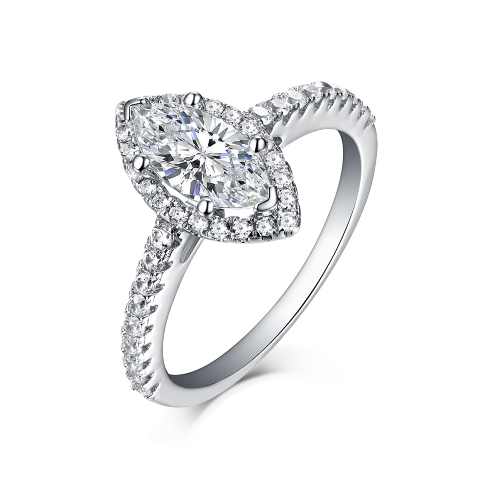 Marquise Cut 925 Sterling Silver White Sapphire Halo Engagement Rings