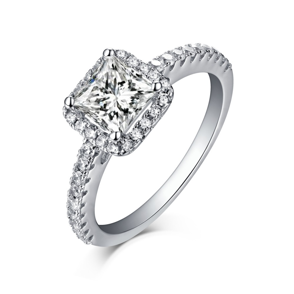 princess cut 925 sterling silver halo white sapphire