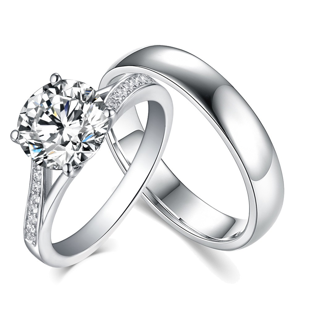 Engagement Rings For Couples: Round Cut White Sapphire 925 Sterling Silver Couple Rings