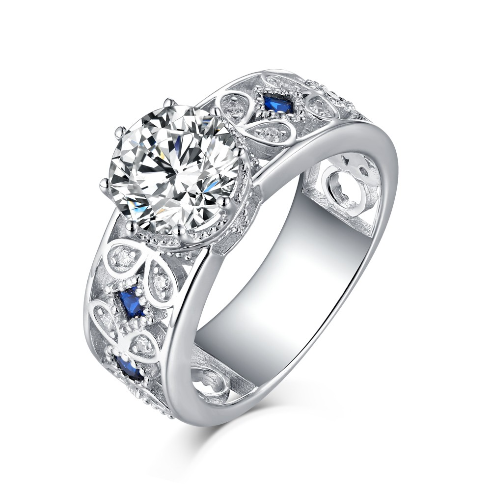 Round Cut 925 Sterling Silver Sapphire & White Sapphire Engagement Rings