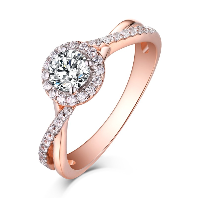 round cut rose gold 925 sterling silver white sapphire halo engagement rings lajerrio jewelry - Rose Wedding Rings