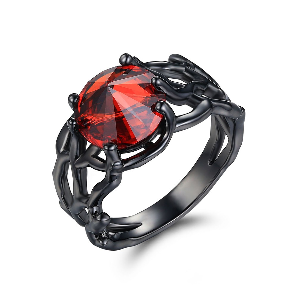 Round Cut Ruby Black 925 Sterling Silver Engagement Rings