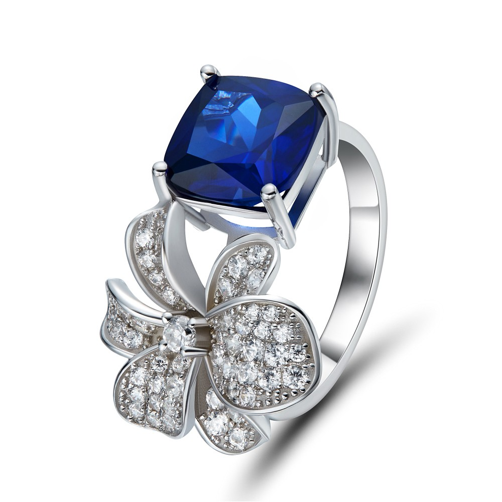 engagement sapphire finger ring solitaire on or with products diamonds cut double blue cushion prong