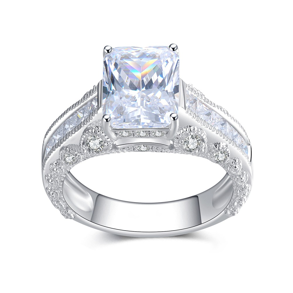 Emerald Cut White Sapphire Sterling Silver Women's Ring