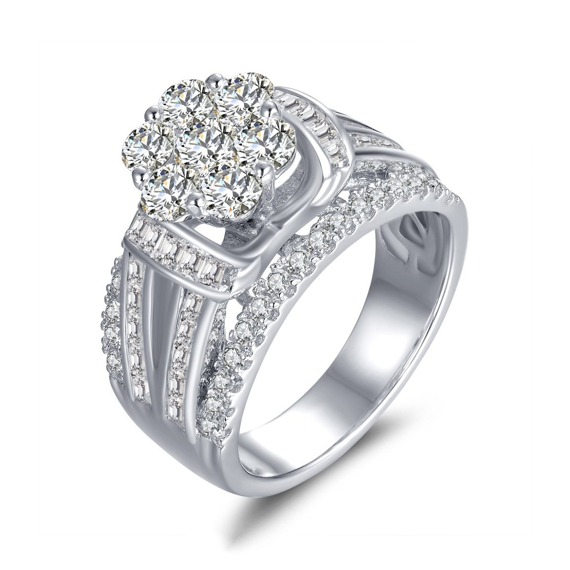 bands prong in engagment gold engagement white shank rockher diamond ring tw shared round with ct