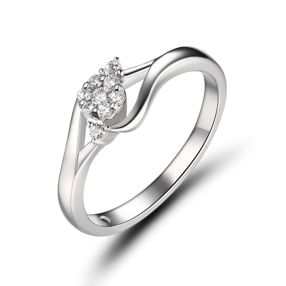 Simple Round Cut White Sapphire 925 Sterling Silver Engagement Ring