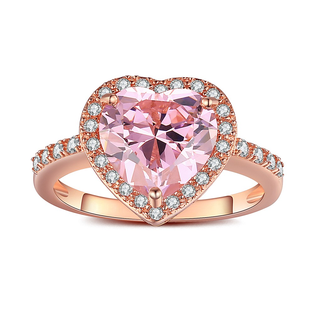 Top Heart Cut Pink Sapphire Rose Gold 925 Sterling Silver Engagement  FE63
