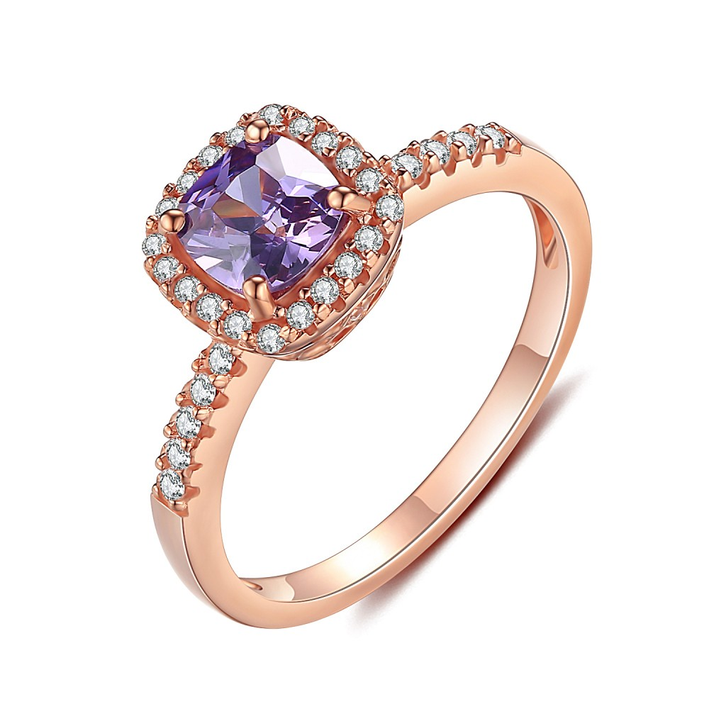 a ring amethyst enr set pave pre rings gold interwoven strand brilliant white stone prong single round four platinum kiss in diamond engagement purple